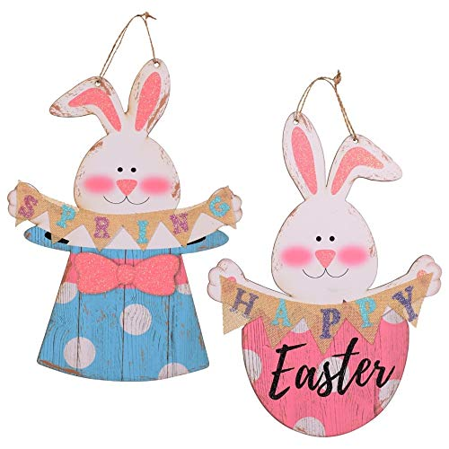 (Spring Bunny Easter Decorations Wall Signs   Set of 2   Rustic Farmhouse Decor 15-Inches)