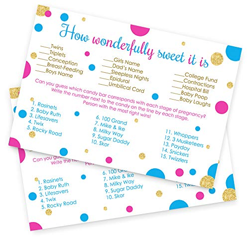 How Sweet It Is Baby Shower Game Cards - Set of 25 - Gender Reveal Party by Paper Clever Party