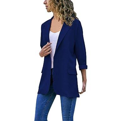 DAYLIN 2019 Mujer Blazers Otoño Invierno Moda Manga Larga Color Sólido Chaquetas Cardigans Abrigos