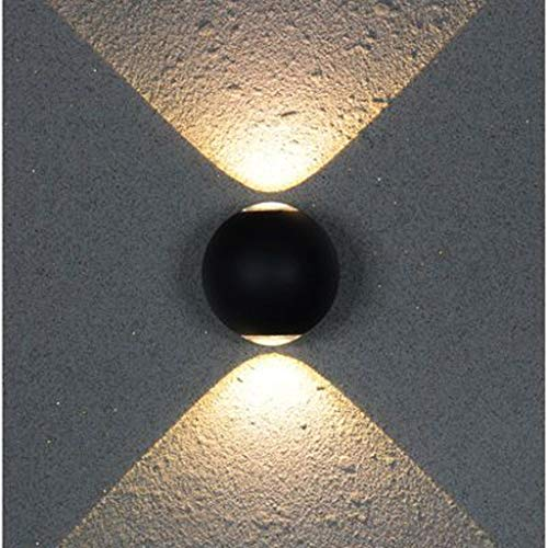 (Outdoor Led Wall Light, Waterproof Round Four-Sided Lamp Modern Interior Lighting, Creative Corridor Aisle Garden Light,warmlightonbothsides )