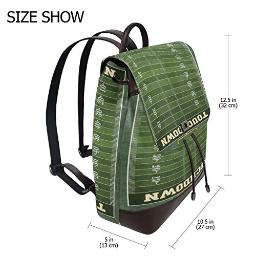 Fotbollsplan ryggsäck handväska mode PU-läder ryggsäck ledig ryggsäck för kvinnor