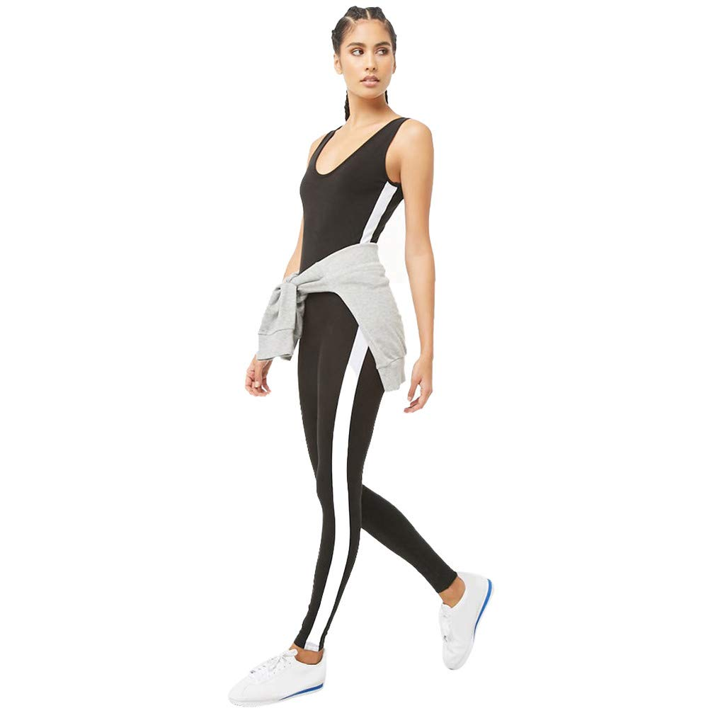 Zainafacai_yoga pants Woman's Sexy Sport Yoga Jumpsuit Sleeveless Backless Legging Hollow Out Sport Romper Playsuit Black