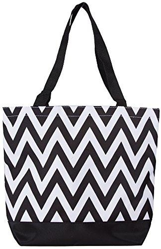 Personalized Tote Overnight Bag (Ever Moda Black Chevron Tote Bag, Large 17-inch)
