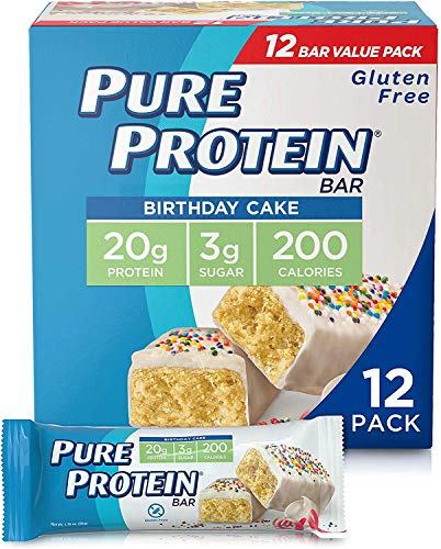 Pure Protein Bars, High Protein, Nutritious Snacks to Support Energy, Low Sugar, Gluten Free, Birthday Cake, 1.76 oz…