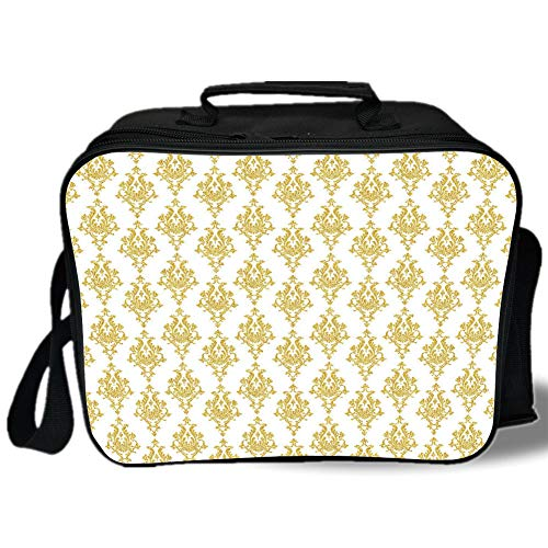 Gold and White 3D Print Insulated Lunch Bag,Damask Floral Victorian Antique Design Indian Ethnic Inspired Image,for Work/School/Picnic,Yellow and White