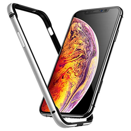 Humixx Extre Series iPhone Xs Case,Utra-Thin Aluminum TPU Hybrid Shockproof Bumper Case Compatible with iPhone X/iPhone 10-Moonlight Silver