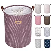 DOKEHOM DKA0822PEL 19  Thickened Large Laundry Basket -(9 Colors, 19  and 22 )- with Durable Leather Handle, Waterproof Round Cotton Linen Collapsible Storage Basket (Purple, L)
