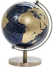 Lesser & Pavey Vintage roterende gouden en blauwe wereldbol met metalen standaard voor uw bureau/kantoor