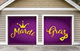 Outdoor Mardi Gras Decorations 2 Car Split Garage Door Banner Cover Mural - Mardi Gras Crown and Mask, Two 7'x 8' Graphic Kits - ''The Original Mardi Gras Supplies Garage Door Banner Decor''