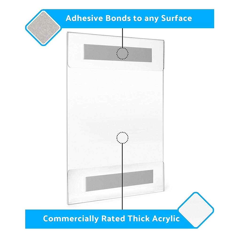Display4top 12 Pack of Wall Mount Portrait Clear Acrylic Sign Holders with Adhesive 12PACK 8.5X11