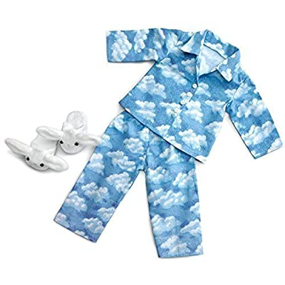 """Clouds Pajamas with Bunny Slippers ~ Fits 18"""" American Girl Dolls: Toys & Games"""