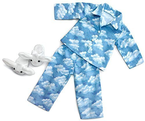 Clouds Pajamas with Bunny Slippers ~ Fits 18