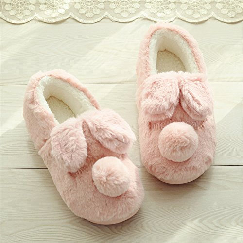 Auspicious beginning Women's Cute Comfortable Sole Footwear Warm Plush Indoor Slipper House Booties Pink Ivhiu