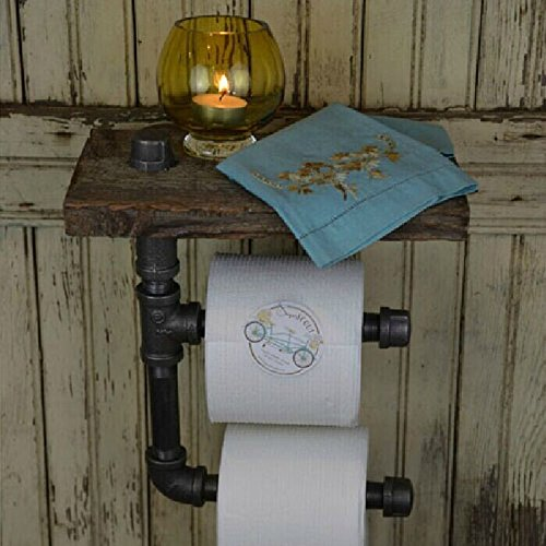 Industrial Toilet Paper Roll Holder with Wooden Shelf,Classical ,Iron,Water Pipe Wall Mounted,30x15x33cm,American Retro Style By ADM-LC - 15 Tissue Holder