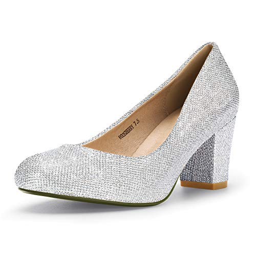 IDIFU Women's RO3 Sherry Classic Closed Round Toe Medium Chunky Block Heels Wedding Dress Office Pumps Shoes (8.5 M US, Silver - Silver Pumps Dress