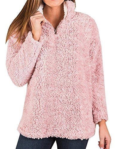 (YOMISOY Womens Long Sleeve Sweatshirt Casual Fleece 1/4 Zip Sherpa Pullovers Tops Pink)
