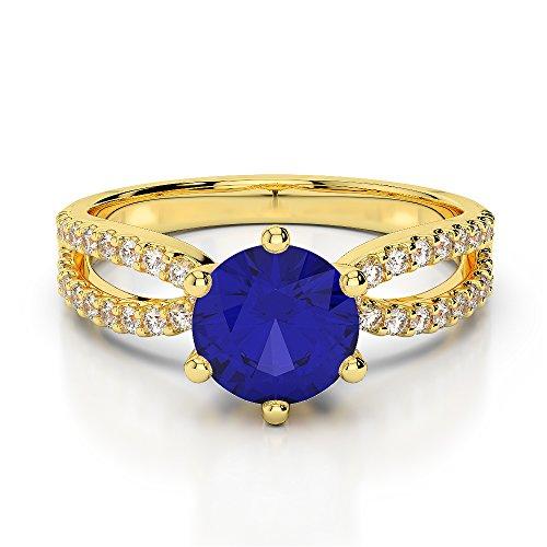 Or jaune 18carats 1CT G-H/VS sertie de diamants Saphir de coupe ronde et bague de fiançailles Agdr-1223