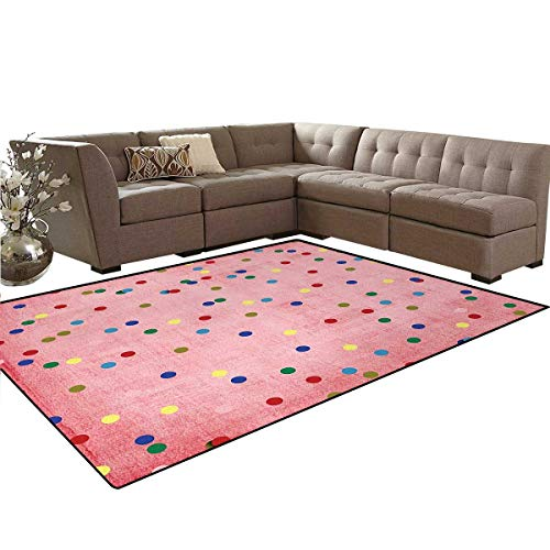 Spots,Floor Mat,Retro Classic Spots Design with Circles Geometric Design Pink Background Image Print,Living Dining Room Bedroom Hallway Office Carpet,Multicolor,6'6