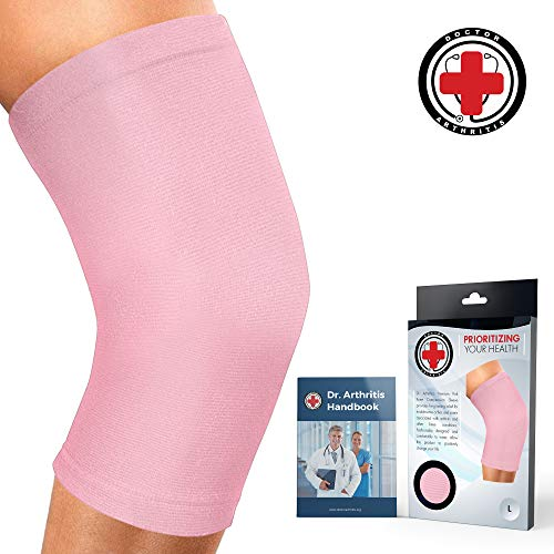 (Doctor Developed Ladies Pink Knee Brace/Knee Support/Knee Compression Sleeve [Single] & Doctor Written Handbook -Guaranteed Relief for Arthritis, Tendonitis, Injury, Running & Weightlifting (Pink, XL))