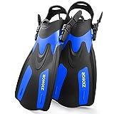 Zionor F1 Diving Snorkel Short Fins Flippers for Men Women Adjustable Open Heel Trek Design for Travel Snorkeling Swimming