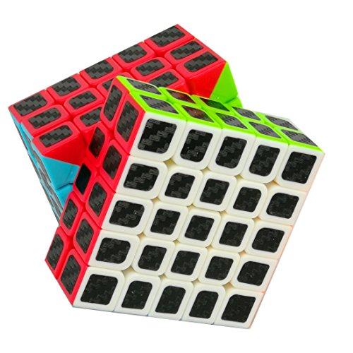 Cuberspeed Magic cube 5x5 Stickerless Bright with black sticker Speed cube Phantom Carbon fiber sticker 5x5x5 Color Magic cube