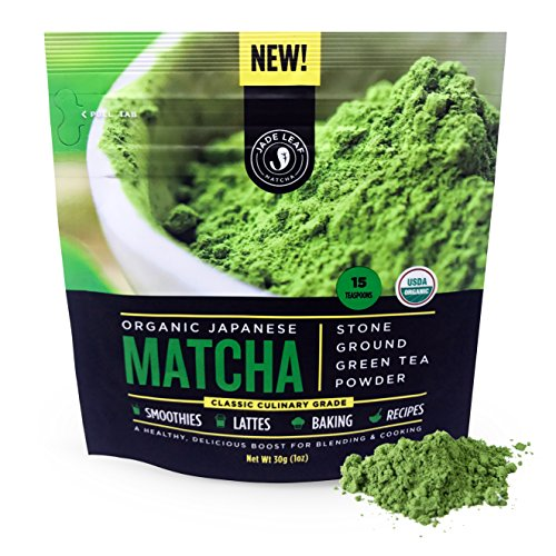 Jade Leaf Matcha Green Tea Powder - USDA Organic, Authentic Japanese Origin - Classic Culinary Grade (Smoothies, Lattes, Baking, Recipes) - Antioxidants, Energy [30g Starter Size] (Single Herb Leaf)