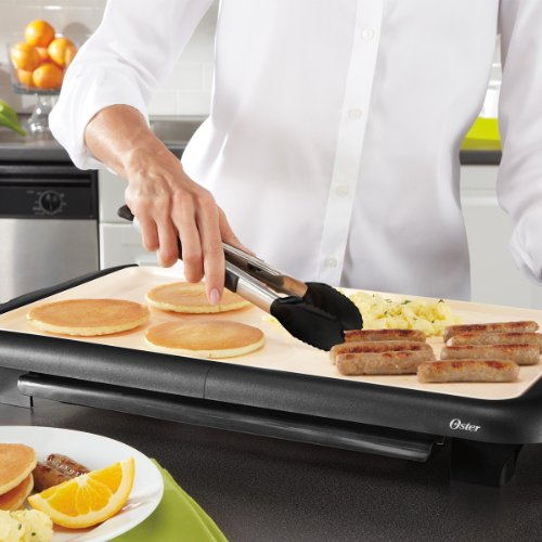 Oster Titanium Infused DuraCeramic Griddle with Warming Tray, Black/Crème (CKSTGRFM18W-TECO) by Oster (Image #5)