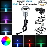 Alexa Compatible Soffit Lighting Kit, FVTLED 20pcs Low Voltage Lighting Dimmable LED Light Outdoor WiFi Remote Control Light Work with Alexa Google Home IFTTT