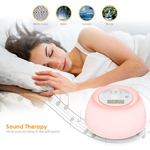 INLIFE Alarm Light with Sunrise and Sounds, Noise with 7 Rechargeable Portable Night Light