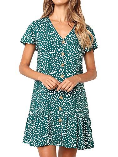 (LANREMON Women's Dresses Casual Polka Dot V-Neck Button Down Short Sleeve Ruffles Loose Fit Mini Summer T-Shirt Dress Green S)