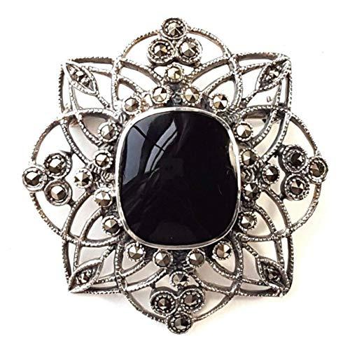 Onyx Opulence Black Onyx Stone PIN Brooch Marcasite .925 Sterling Silver ВК-181