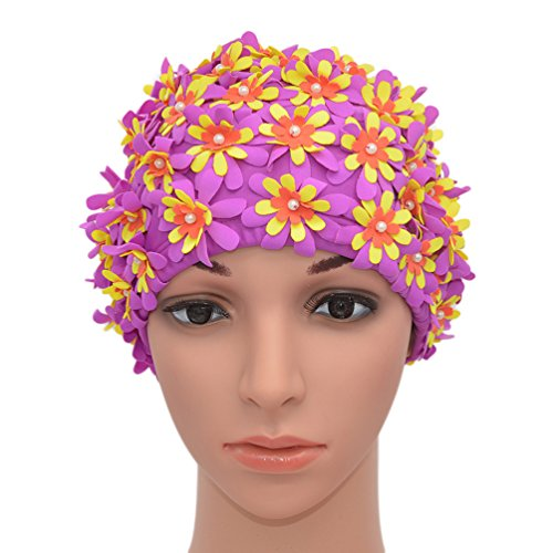- Medifier Swim cap Floral Petal Retro Style Bathing Caps for Women Purple