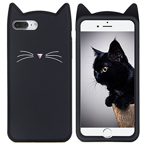 iPhone 7 Plus Case, MC Fashion Cute 3D Black MEOW Party Cat Kitty Whiskers Protective Soft Case Skin for Apple iPhone 7 Plus (2016) (Cat Whisker-Black)