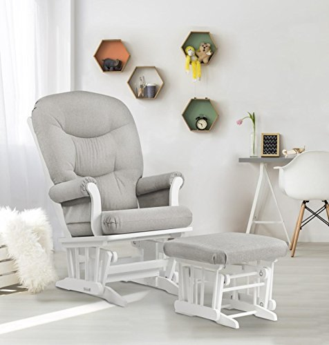 Dutailier Sleigh Glider and Ottoman Set, White/Light Grey by Dutailier