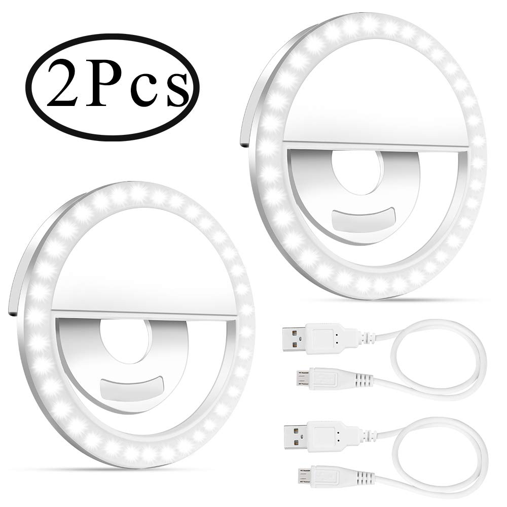 Selfie Light Ring, Outee 2 Pack Led Circle Clip On Cell Phone Laptop Camera LED Light 3-Level 36 Led Adjustable Brightness Video Lights Rechargeable Compatible for Phone Photography (White) by Outee (Image #1)
