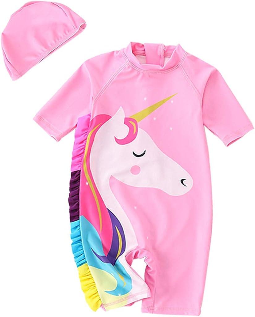 Toddler Swimsuit Girls One-Piece Bathing Suits Unicorn Kids Rash Guard Swimwear