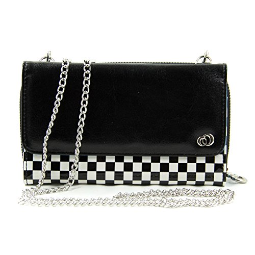 Kroo Women's Clutch Wristlet with Silvertone Chain Smartphone Case Holder up to 5.85 Inch Inch Total Height - Frustration-Free Packaging - Black and White Checker