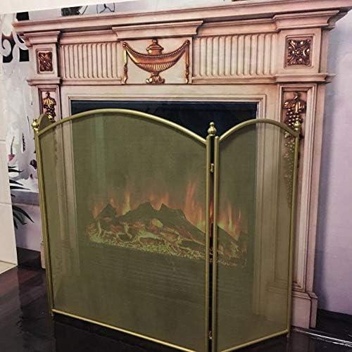 リビングルーム用暖炉スクリーン、3パネル折りたたみ式自立暖炉火花保護、洋風金属装飾メッシュ、高さ80cm