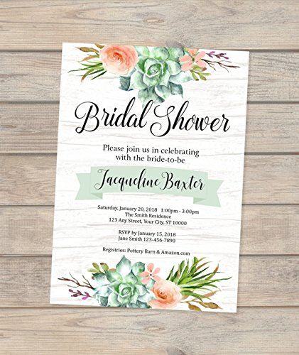 Succulent Bridal Shower Invitation, Watercolor Succulent Flowers Bridal Shower Invitation, Rustic Bridal Shower Invitation, Boho Chic Invitations