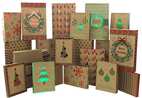 Iconikal Christmas - Holiday Kraft Gift Boxes Assortment - 3 Sizes - 20 Pack