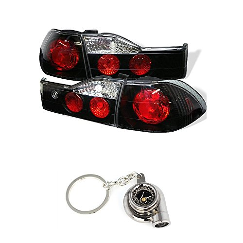 Xtune Euro Style Tail Lights for Accord 4Dr Black/Clear - Honda Accord 4dr Euro Tail