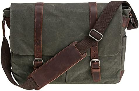Waterproof Waxed Canvas 15 Macbook pro 14 Laptop Messenger Bag Men Business Vintage shoulder bag Briefcase