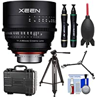 Rokinon Xeen 85mm T/1.5 Telephoto Pro Cine Lens (for Video DSLR Cinema Canon EF Cameras) with Waterproof Hard Case + Tripod + Dolly + Kit