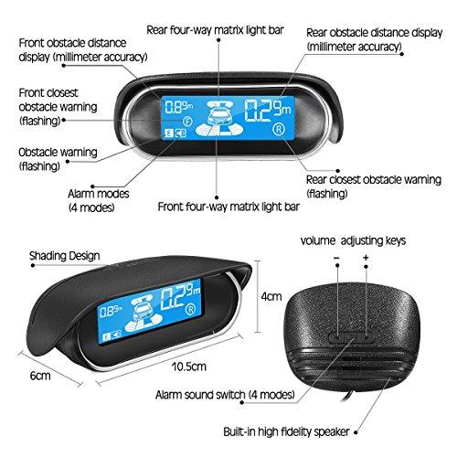 Universal Full Digital Distance LCD Display Car Monitor Parking Sensor Kit Auto Radar Detector 4 Sensors Alarm Indicator Reverse Backup Radar System White