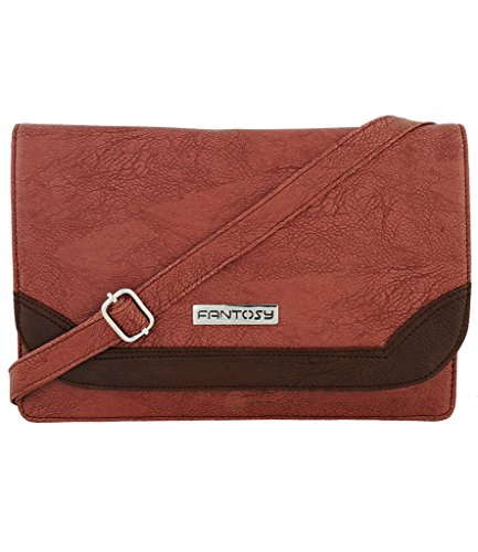 Fantosy Women Sling Bag (FNSB-055, Purple and Brown)