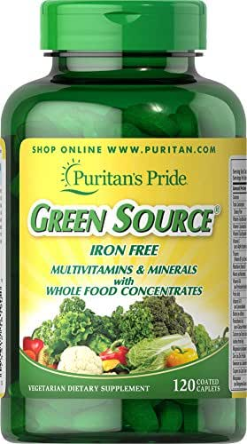 Puritans Pride Green Source Iron Free Multivitamin and Minerals, 120 Count