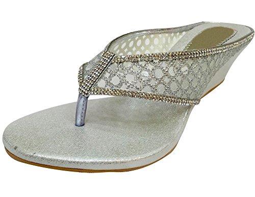 Silver Chaussures argenté femme Wedge BLANC Style Mesdames MID Party pour Talon Étape N mariée qvf7wFOOI