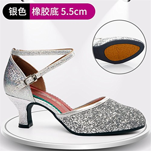 de Al 5 zapatos de Libre con danza Aire Zapatos de 5cm latino zapatos Wxmddn Plata Zapatos alto baile tacón 56gwRT
