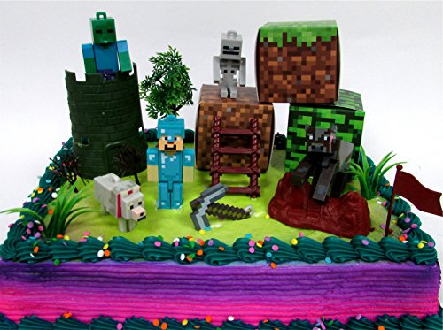 Birthday Party Cake Topper (MINECRAFT 14 Piece Birthday CAKE Topper Set Featuring Random Minecraft Figures and Decorative Themed Accessories, Figures Average 1