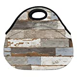 DKISEE Watercolor Shiplap Large & Thick Neoprene Lunch Bags Insulated Lunch Tote Bags